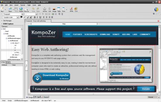 Kompozer Free CSS Editor