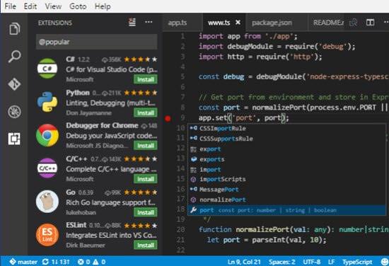 Visual Studio Code Free HTML Editor