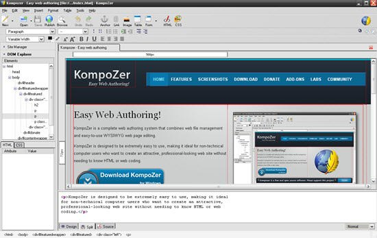 KompoZer Free HTML Editor