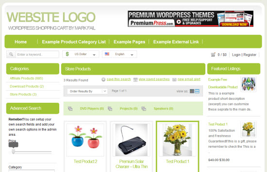 ShopperPress wordpress shopping cart theme