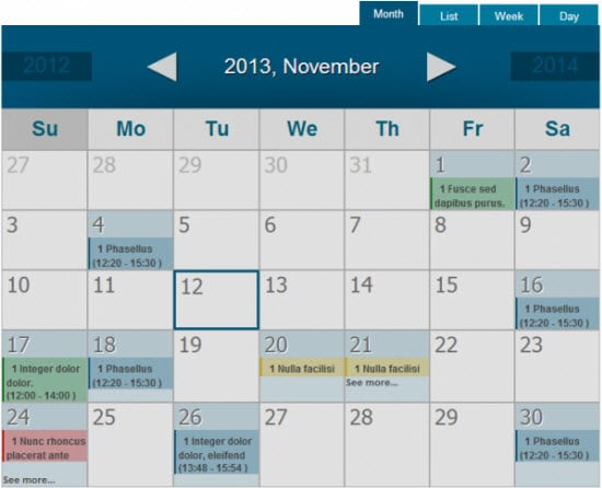 Spider Calendar