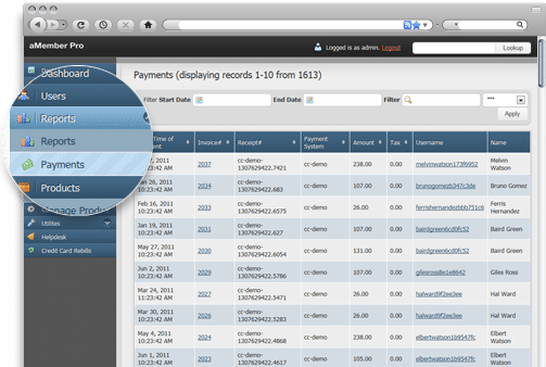 aMember Online Membership Management Software