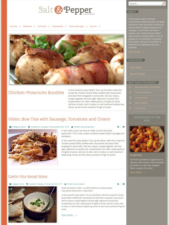 Blog Style Joomla Template Salt & Pepper