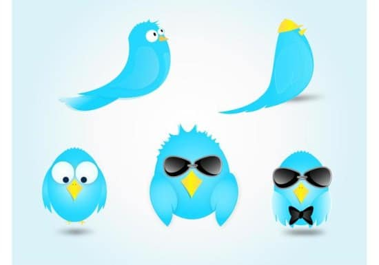 Twitter Bird Cartoon Vectors