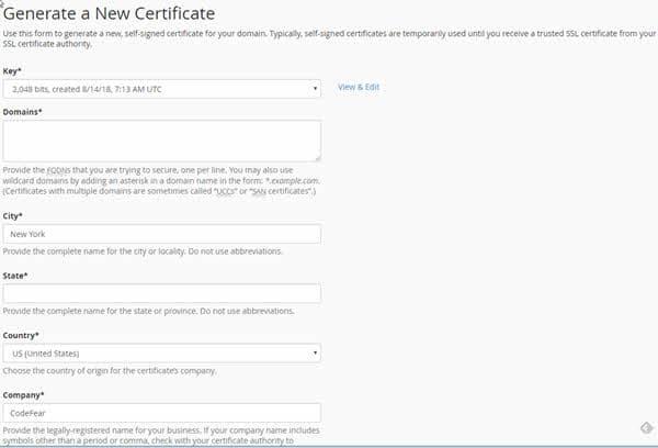 Generate a New Certificate