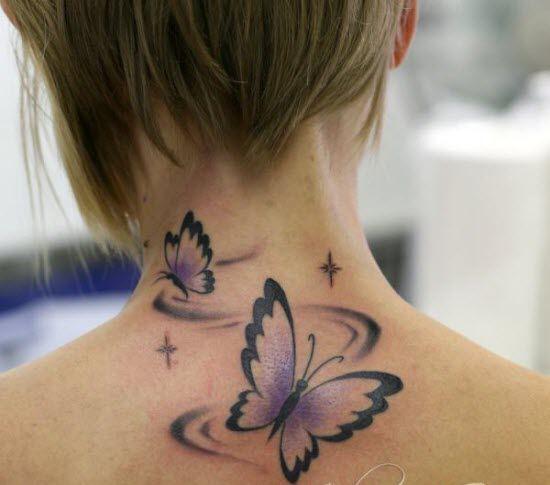 Most Beautiful Neck Tattoos: 35 Most Beautiful Butterfly Tattoo Designs