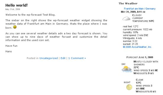 Weather Forecast Plugins