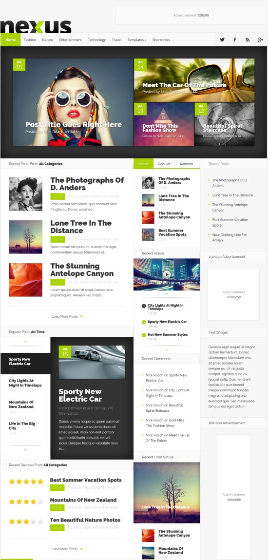 Magazine Style WordPress Theme Nexus