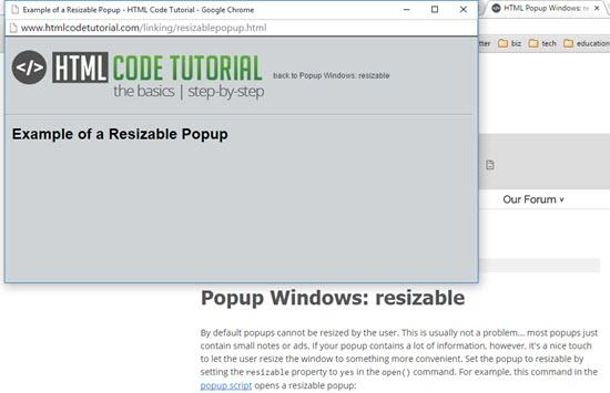 Popup HTML Tutorials