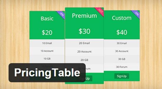 WordPress Pricing Table Plugins