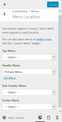Menu Location Options