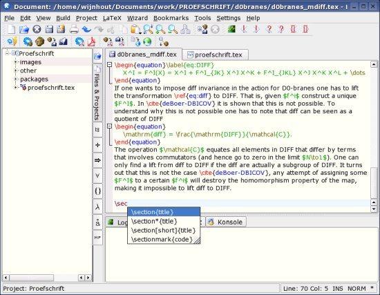 Kile LaTeX Editors